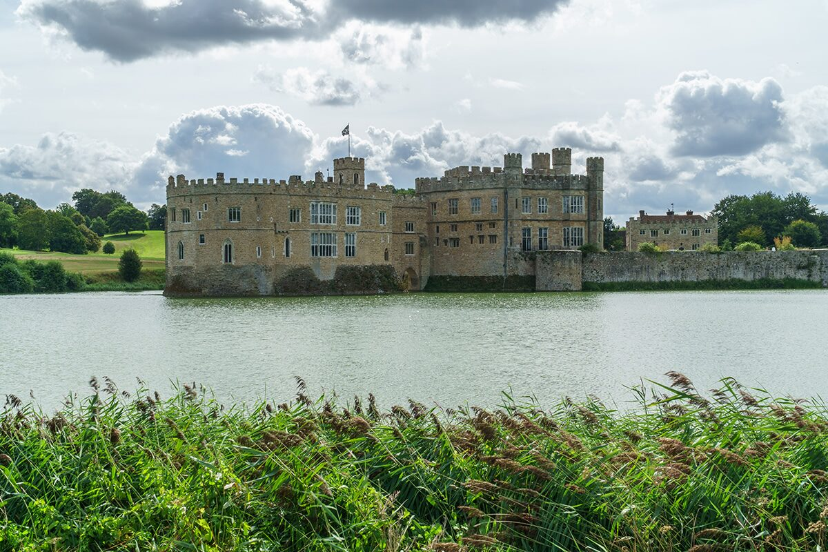 leeds castle with grass blowing in the wind